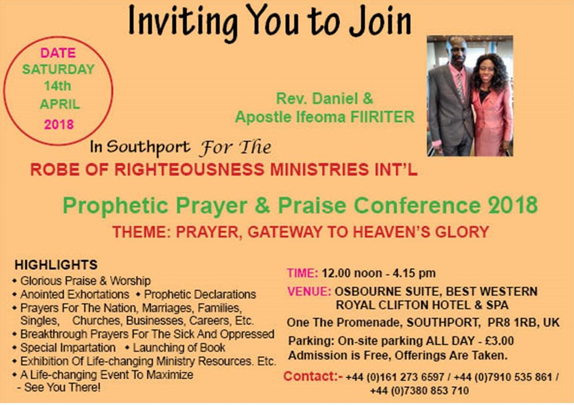 Upcoming Events RORMI Prophetic Prayer And Praise Conference
